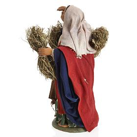 Neapolitan Nativity figurine, female farmer with bundles, 14 cm s4