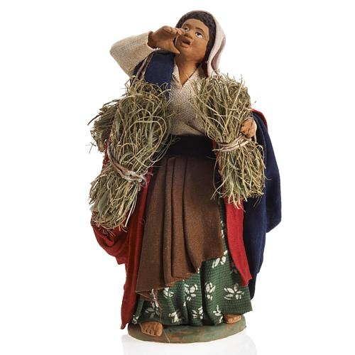 Neapolitan Nativity figurine, female farmer with bundles, 14 cm 1