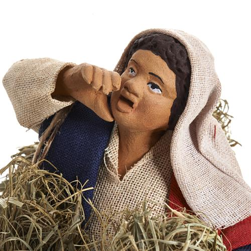 Neapolitan Nativity figurine, female farmer with bundles, 14 cm 2