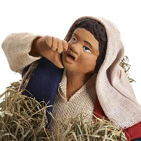 Neapolitan Nativity figurine, female farmer with bundles, 14 cm s2