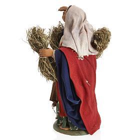 Neapolitan Nativity figurine, female farmer with bundles, 14 cm s4