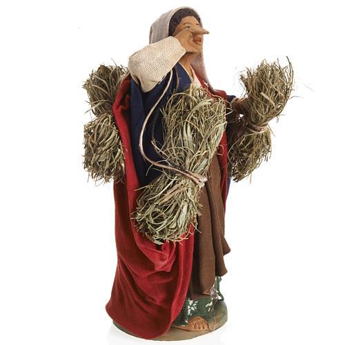 Neapolitan Nativity figurine, female farmer with bundles, 14 cm 3
