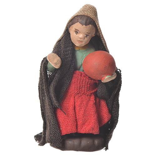 Neapolitan Nativity figurine, young girl with ball, 10 cm 1