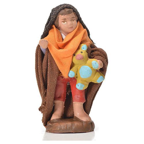Neapolitan Nativity figurine, young boy with teddy bear, 10 cm 1