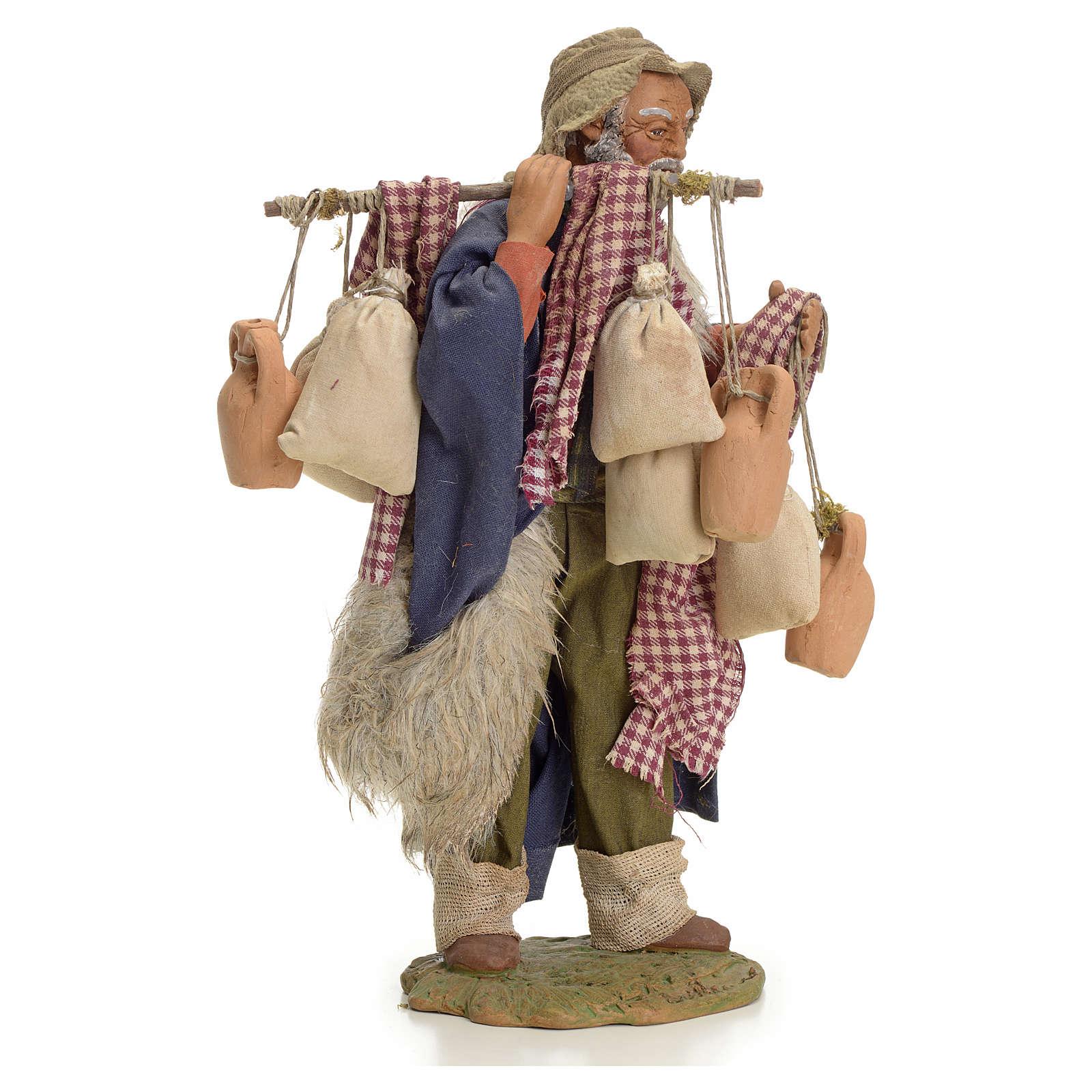 Uomo con sacchi 24 cm presepe Napoli 4