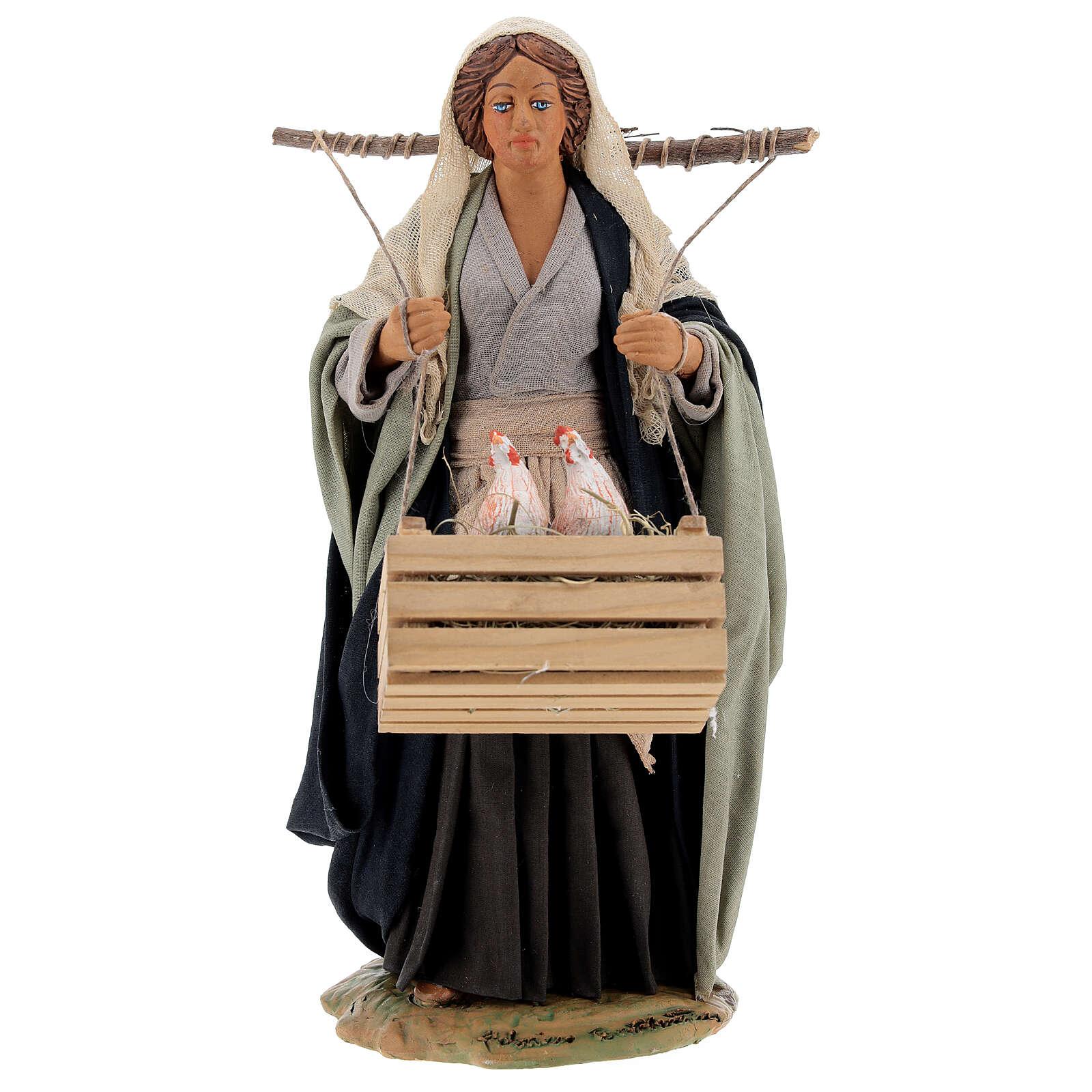 Neapolitan Nativity figurine, woman with hen cage, 24 cm 4