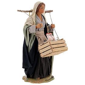 Neapolitan Nativity figurine, woman with hen cage, 24 cm s4