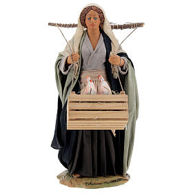 Neapolitan Nativity figurine, woman with hen cage, 24 cm s1