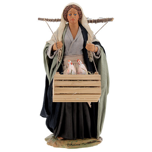 Neapolitan Nativity figurine, woman with hen cage, 24 cm 1