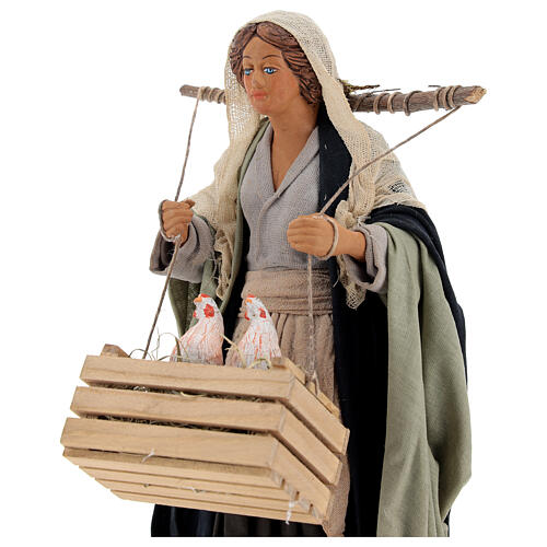 Neapolitan Nativity figurine, woman with hen cage, 24 cm 2