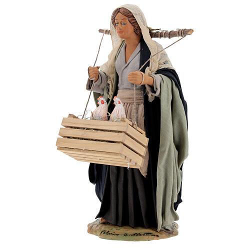 Neapolitan Nativity figurine, woman with hen cage, 24 cm 3
