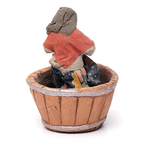 Neapolitan Nativity figurine, woman treading grapes, 10 cm 4