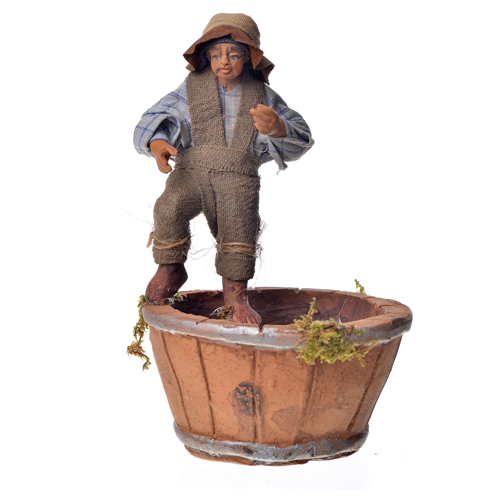 Homme qui presse la raisin 10cm crèche Napolitaine 4