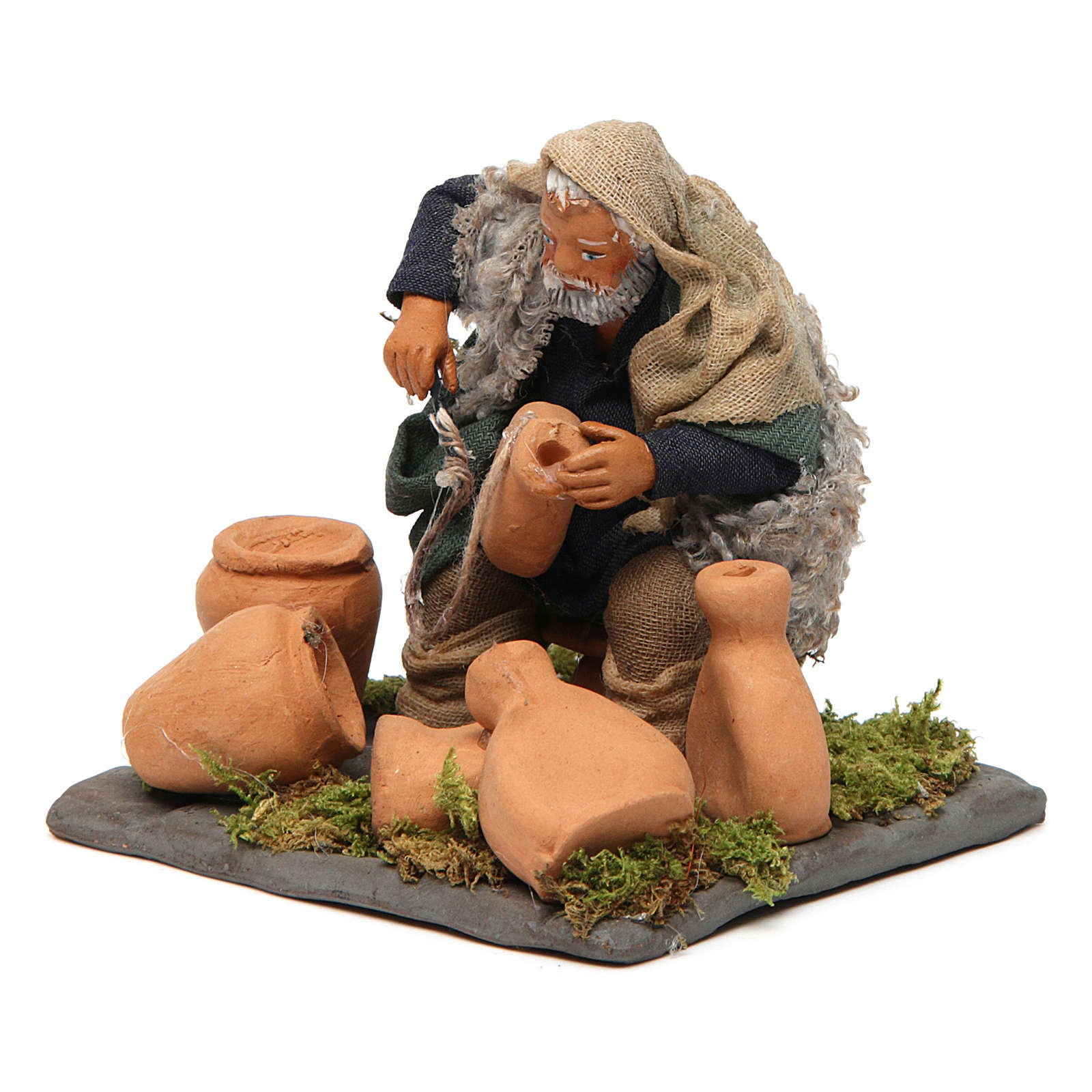 Neapolitan Nativity figurine, man repairing amphorae, 10 cm 4