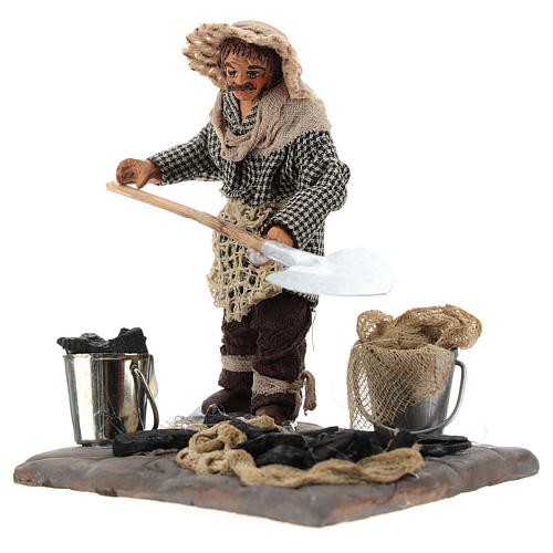 Neapolitan Nativity figurine, charcoal burner with base, 10 cm 2