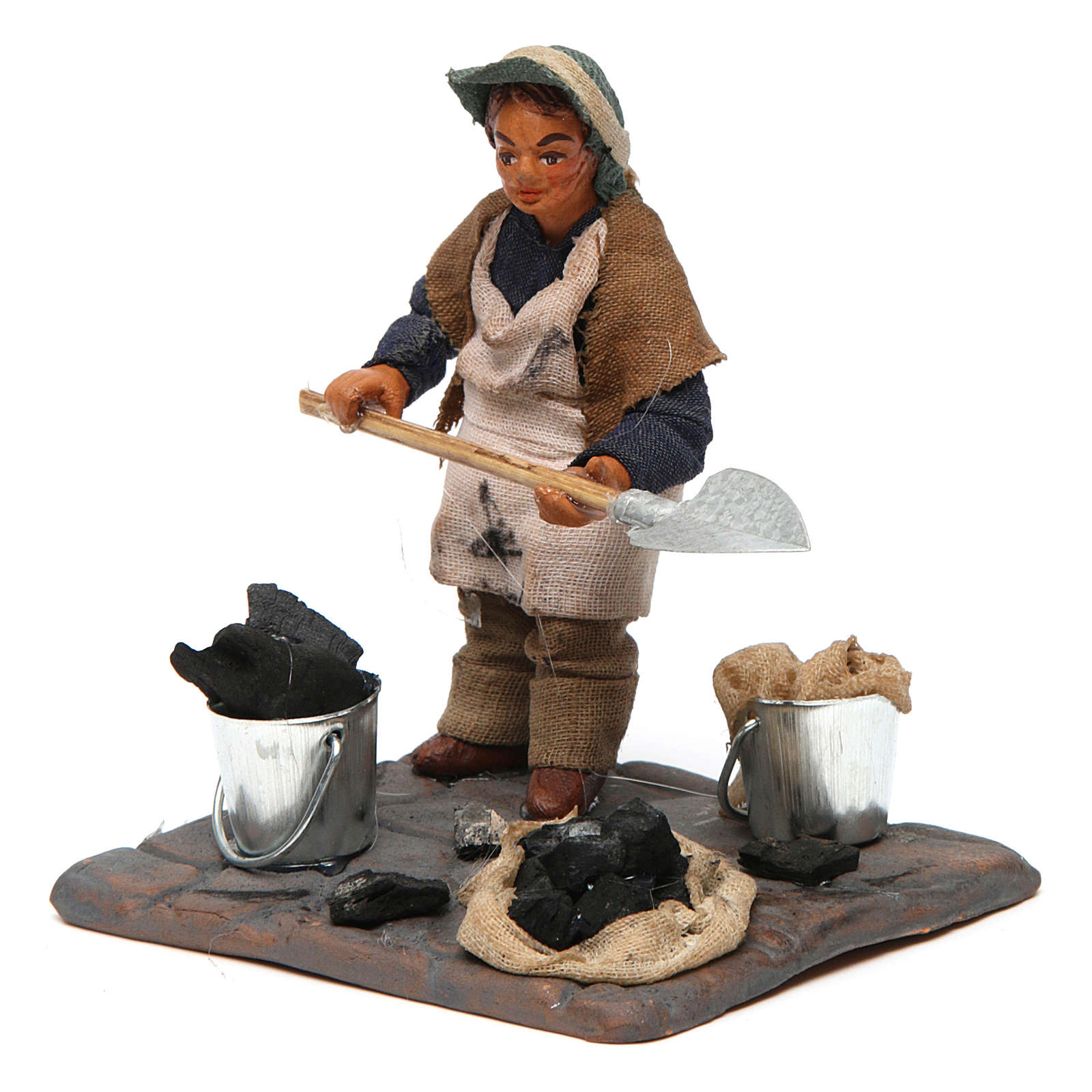 Neapolitan Nativity figurine, charcoal burner with base, 10 cm 4