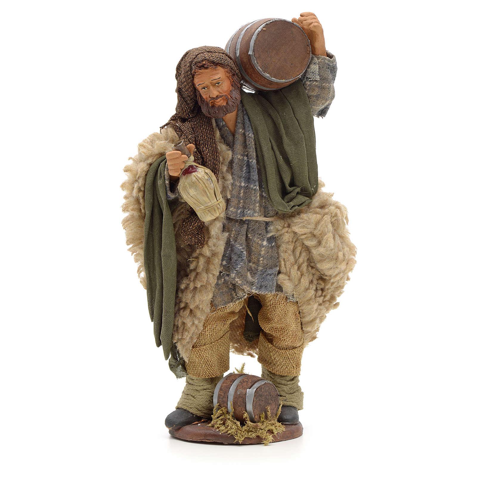 Hombre con barril y frasco en mano 14cm pesebre Nápoles 4