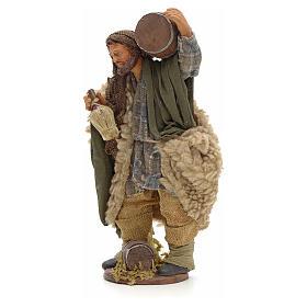 Hombre con barril y frasco en mano 14cm pesebre Nápoles s2