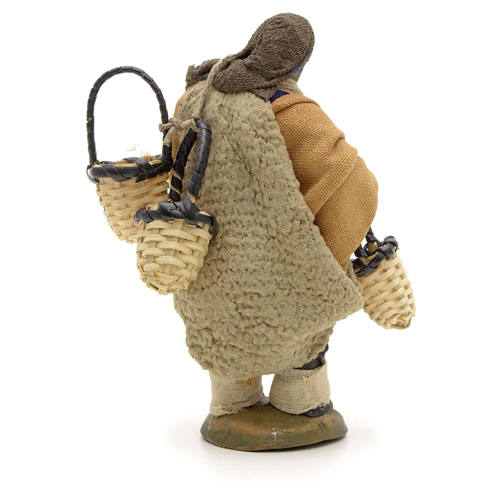 Uomo con cesti addosso 10 cm presepe napoletano 4