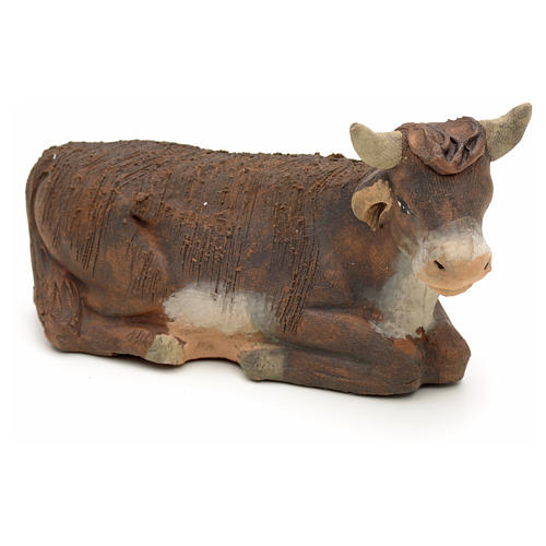 Neapolitan Nativity figurine, terracotta sitting ox , 10 cm 1