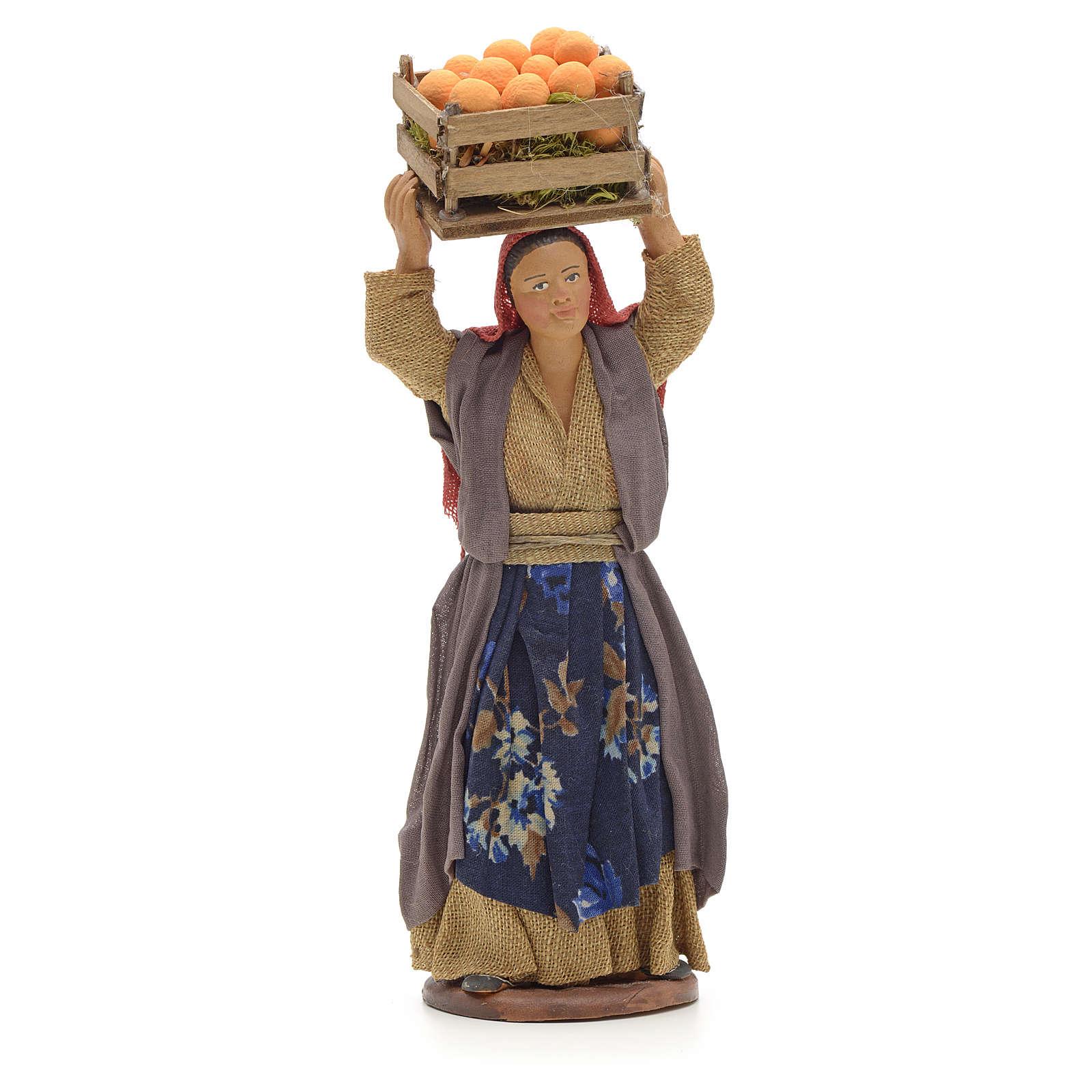 Donna con cesto di arance in testa 14 cm presepe Napoli 4