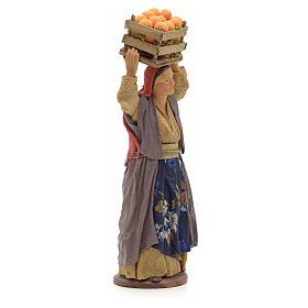 Donna con cesto di arance in testa 14 cm presepe Napoli s4