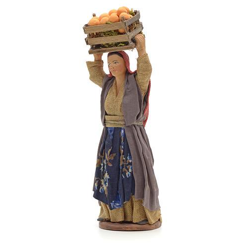 Donna con cesto di arance in testa 14 cm presepe Napoli 2