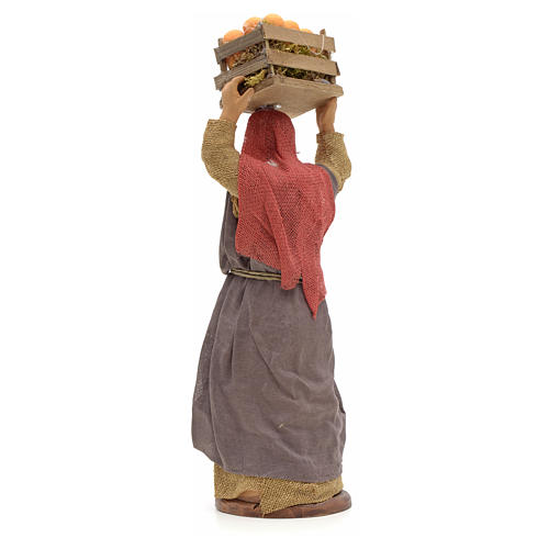 Donna con cesto di arance in testa 14 cm presepe Napoli 3