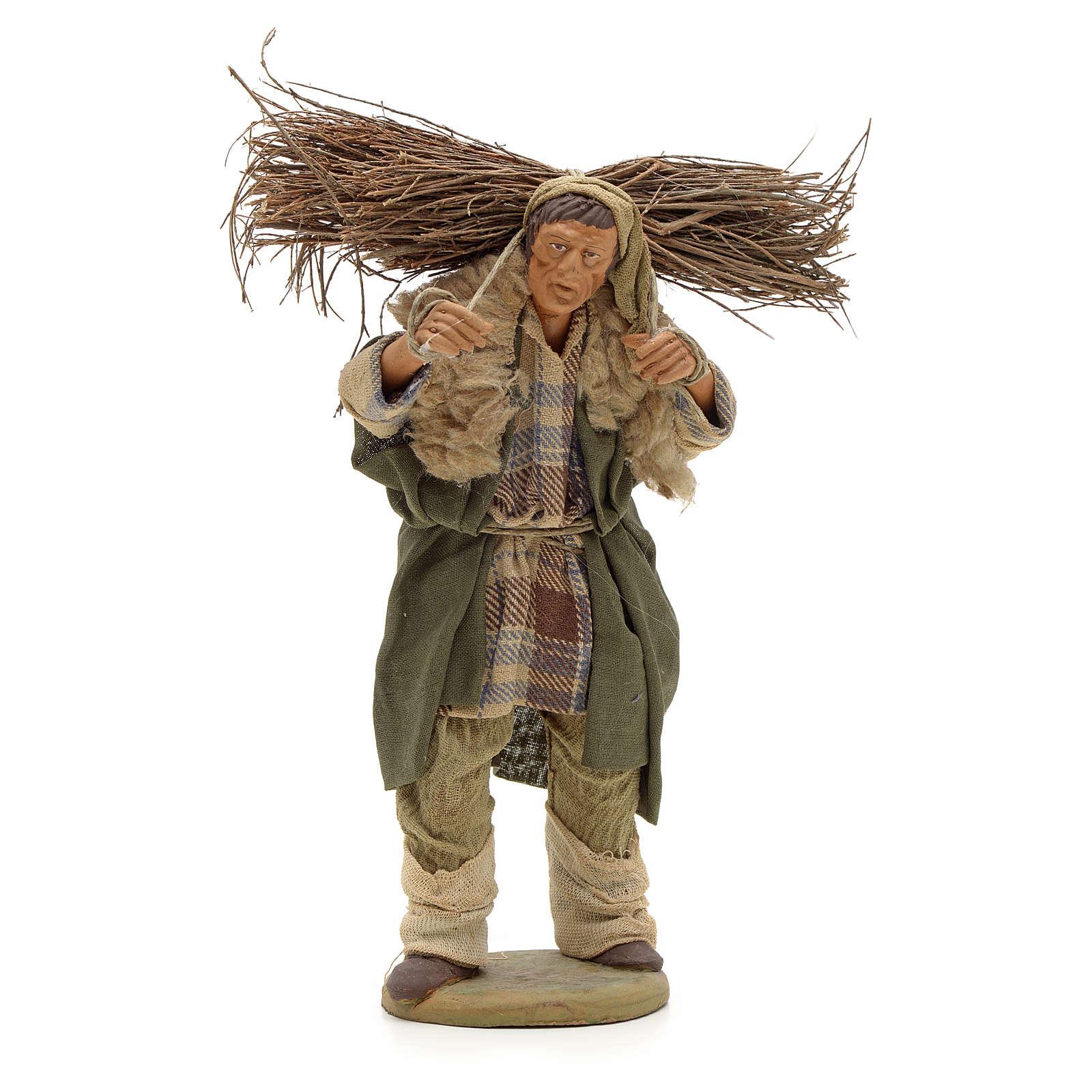 Uomo con legna 14 cm presepe terracotta Napoli 4
