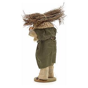 Uomo con legna 14 cm presepe terracotta Napoli s3
