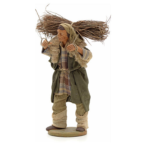 Uomo con legna 14 cm presepe terracotta Napoli 2