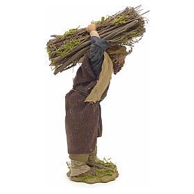 Neapolitan Nativity figurine, lumberjack with wood bundle, 24cm s4
