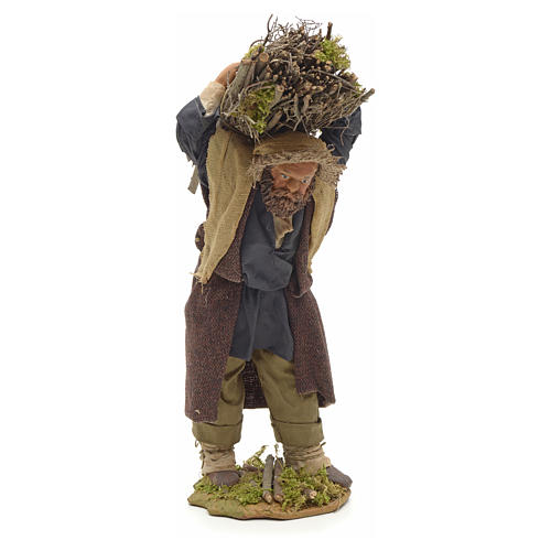 Neapolitan Nativity figurine, lumberjack with wood bundle, 24cm 1