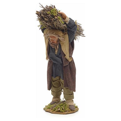 Neapolitan Nativity figurine, lumberjack with wood bundle, 24cm 2