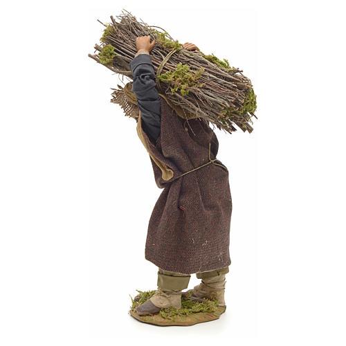 Neapolitan Nativity figurine, lumberjack with wood bundle, 24cm 3
