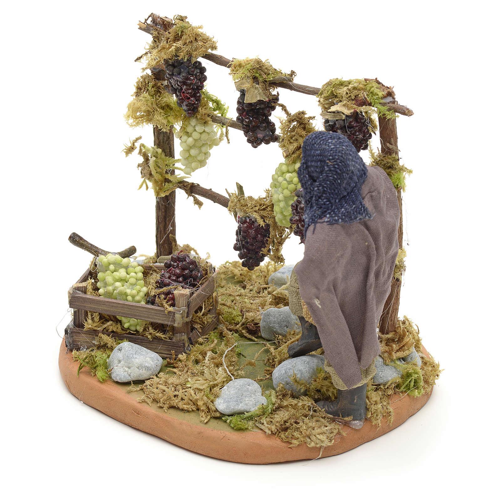 Neapolitan Nativity figurine, man harvesting grapes, 10 cm 4