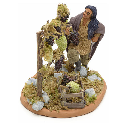Neapolitan Nativity figurine, man harvesting grapes, 10 cm 8
