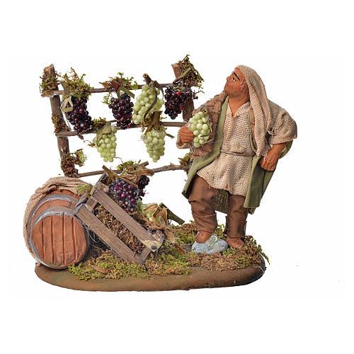 Neapolitan Nativity figurine, man harvesting grapes, 10 cm 1