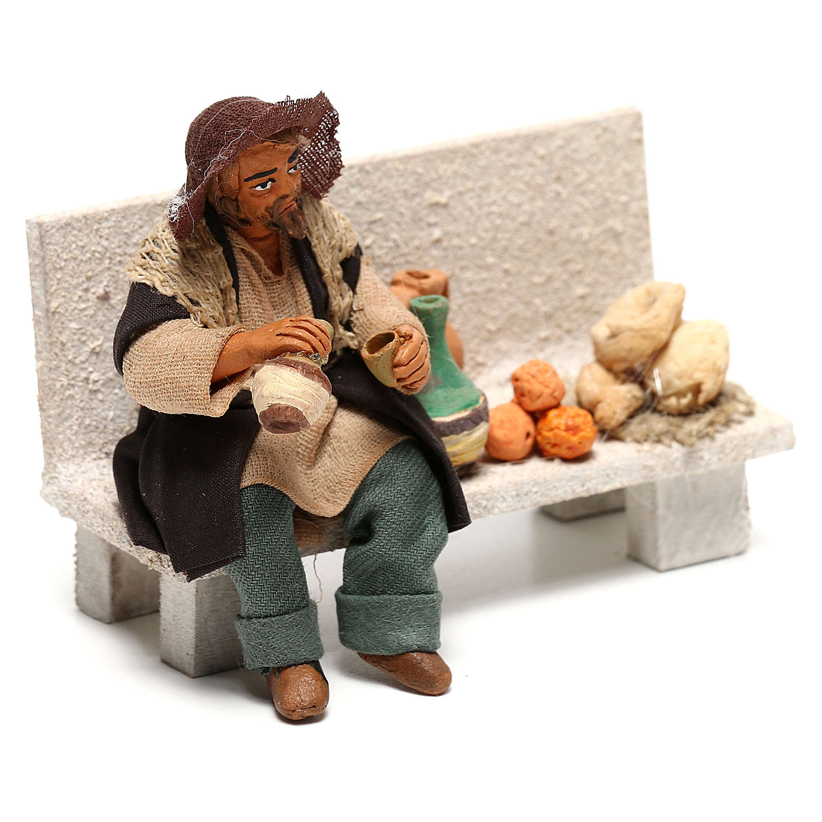 Neapolitan Nativity figurine, beggar, 10 cm 4