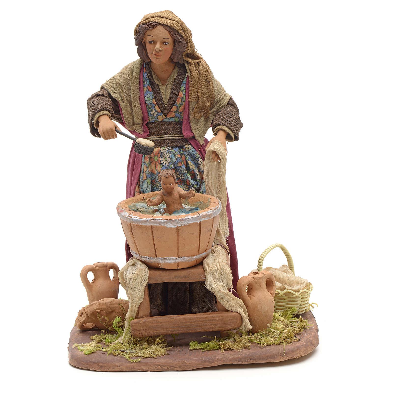 Mujer que lava al niño 24cmm pesebre napolitano 4