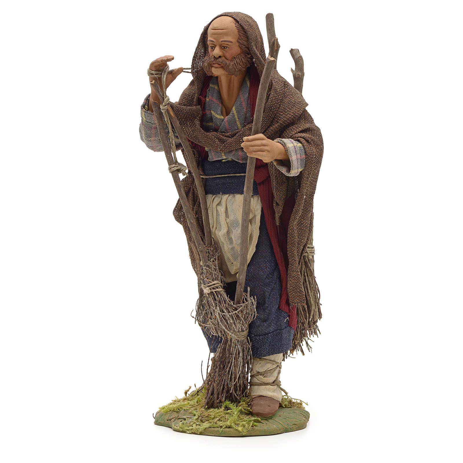 Neapolitan Nativity figurine, man with brooms, 24 cm 4