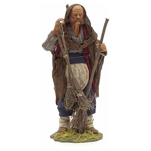 Neapolitan Nativity figurine, man with brooms, 24 cm 1