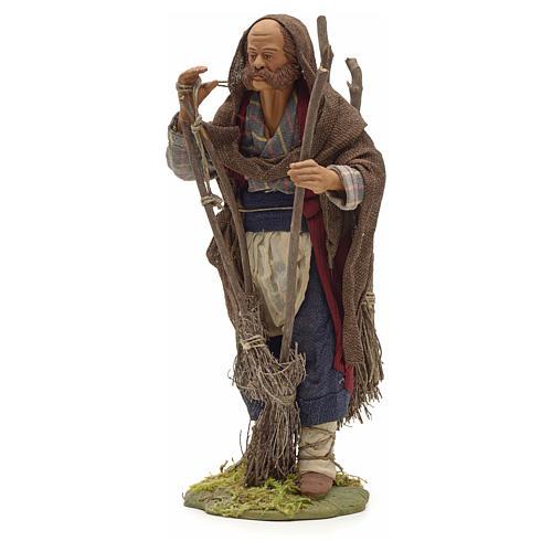 Neapolitan Nativity figurine, man with brooms, 24 cm 2