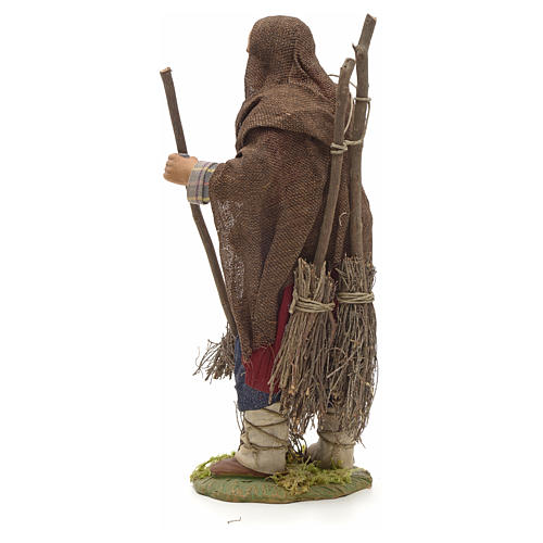 Neapolitan Nativity figurine, man with brooms, 24 cm 3