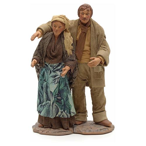 Neapolitan Nativity figurine, couple hugging, 24 cm 1