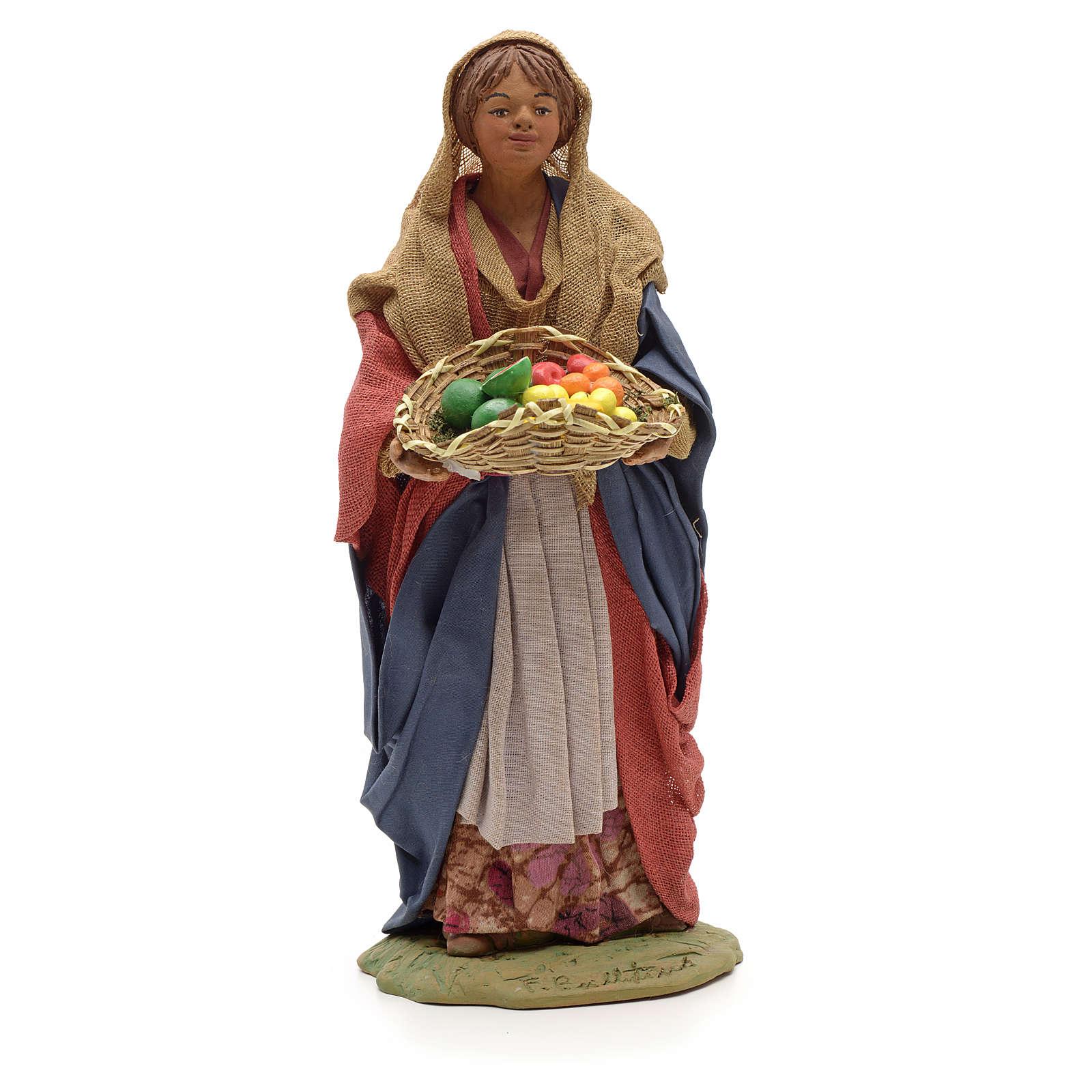 Donna giovane con cesto frutta 24 cm presepe Napoli 4