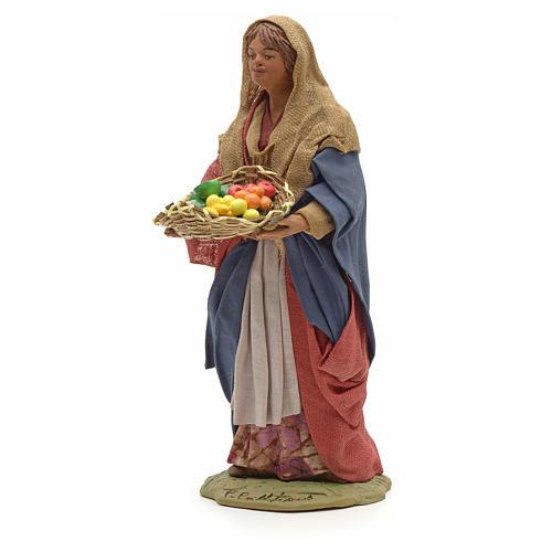 Donna giovane con cesto frutta 24 cm presepe Napoli 6