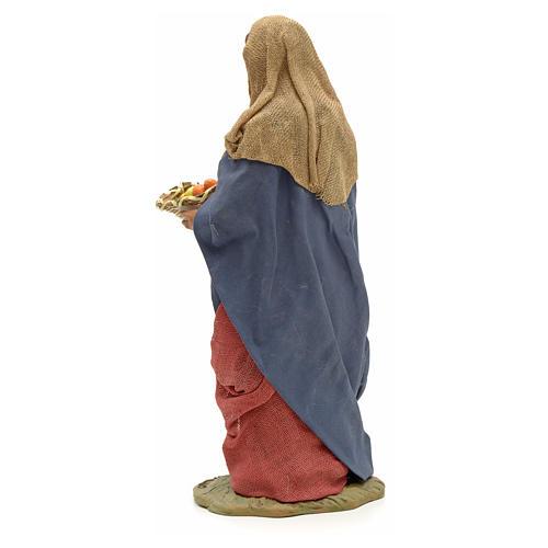 Donna giovane con cesto frutta 24 cm presepe Napoli 7
