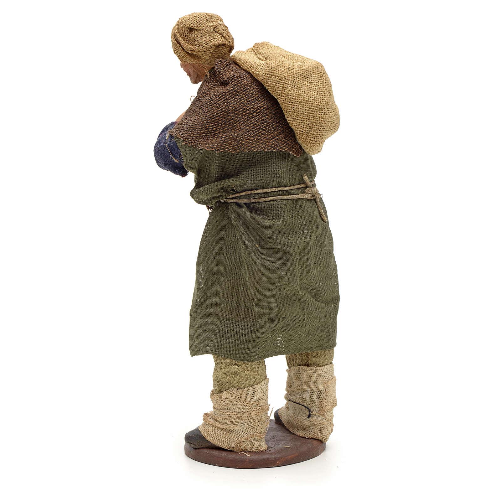 Carbonaio con sacco in spalla 14 cm presepe Napoli 4