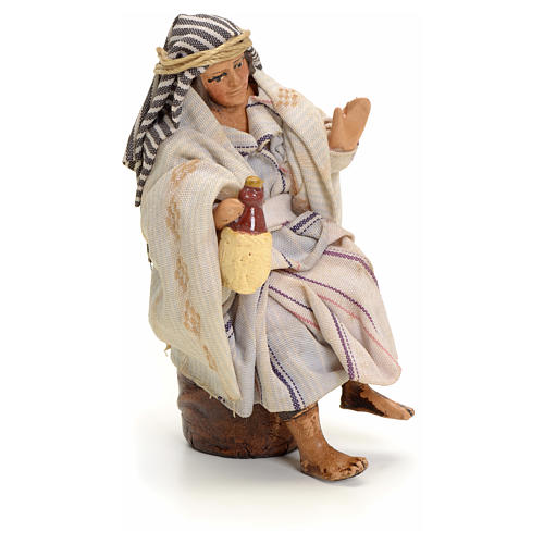 Neapolitan Nativity figurine, Arabian man with wine, 8 cm 2